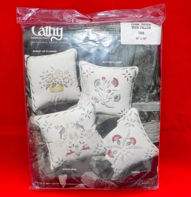 "NEW Penn. Dutch Deer Quilted Pillow Kit Cathy Needlecraft Inc. #7385, 14"" x 14"""