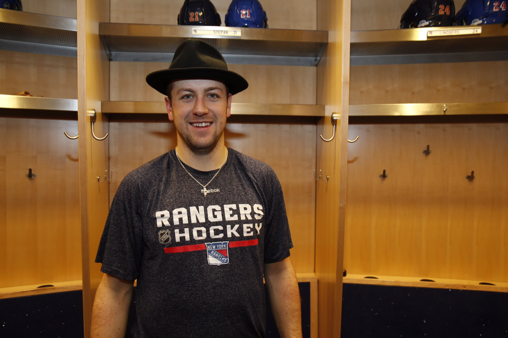 Derek Stepan dons the Broadway Hat following his clutch tying goal with 1:13 left in an exciting Rangers' 3-2 shootout win over the Devils. AP Photo via Getty Images courtesy NYRangers.