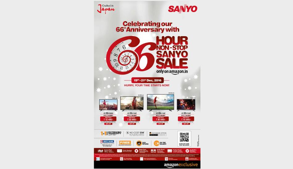 @SanyoIN announces a 66 hour non-stop sale on its LED TV range on @amazonIN  https://t.co/r6cHVGgcUv https://t.co/Vt3nl2g2qs