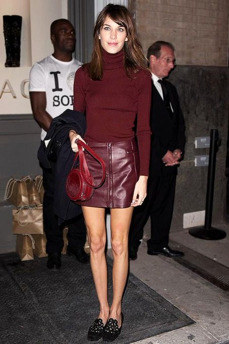 Get Alexa Chung's Stylish All-Burgundy Look