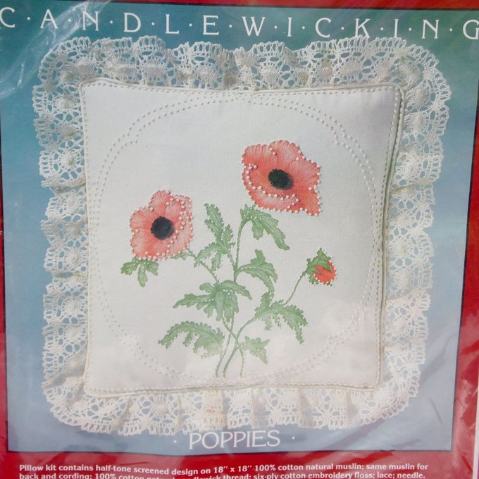 NEW Poppies Poppy Flower Candlewicking Pillow Kit Cathy Needlecraft #7933