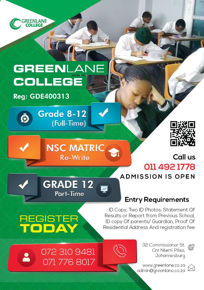 Greenlane College On Twitter 2017 Registration Open For Grade 8 12 Matric Re Write