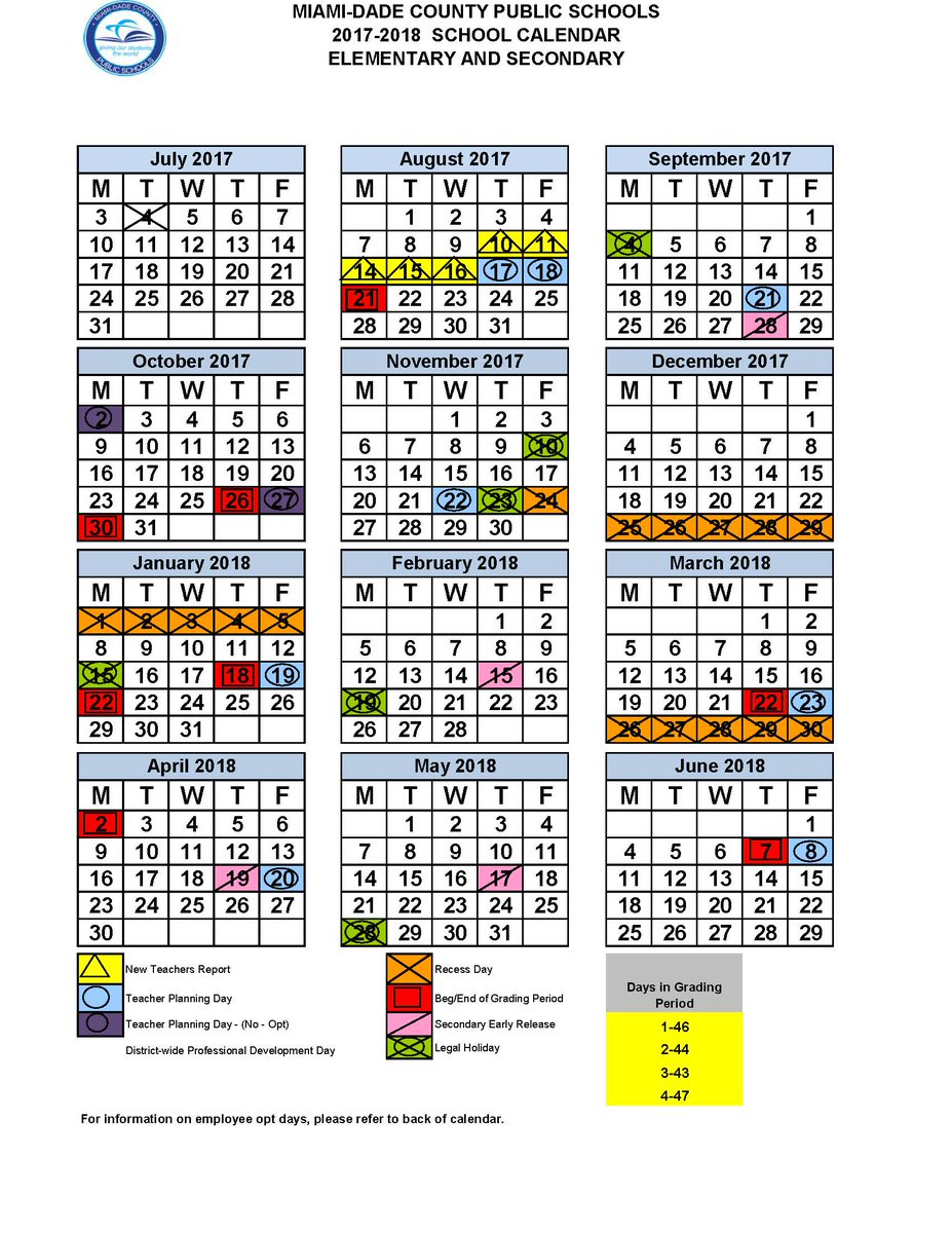 Image result for miami dade county public school calendar 2017-18