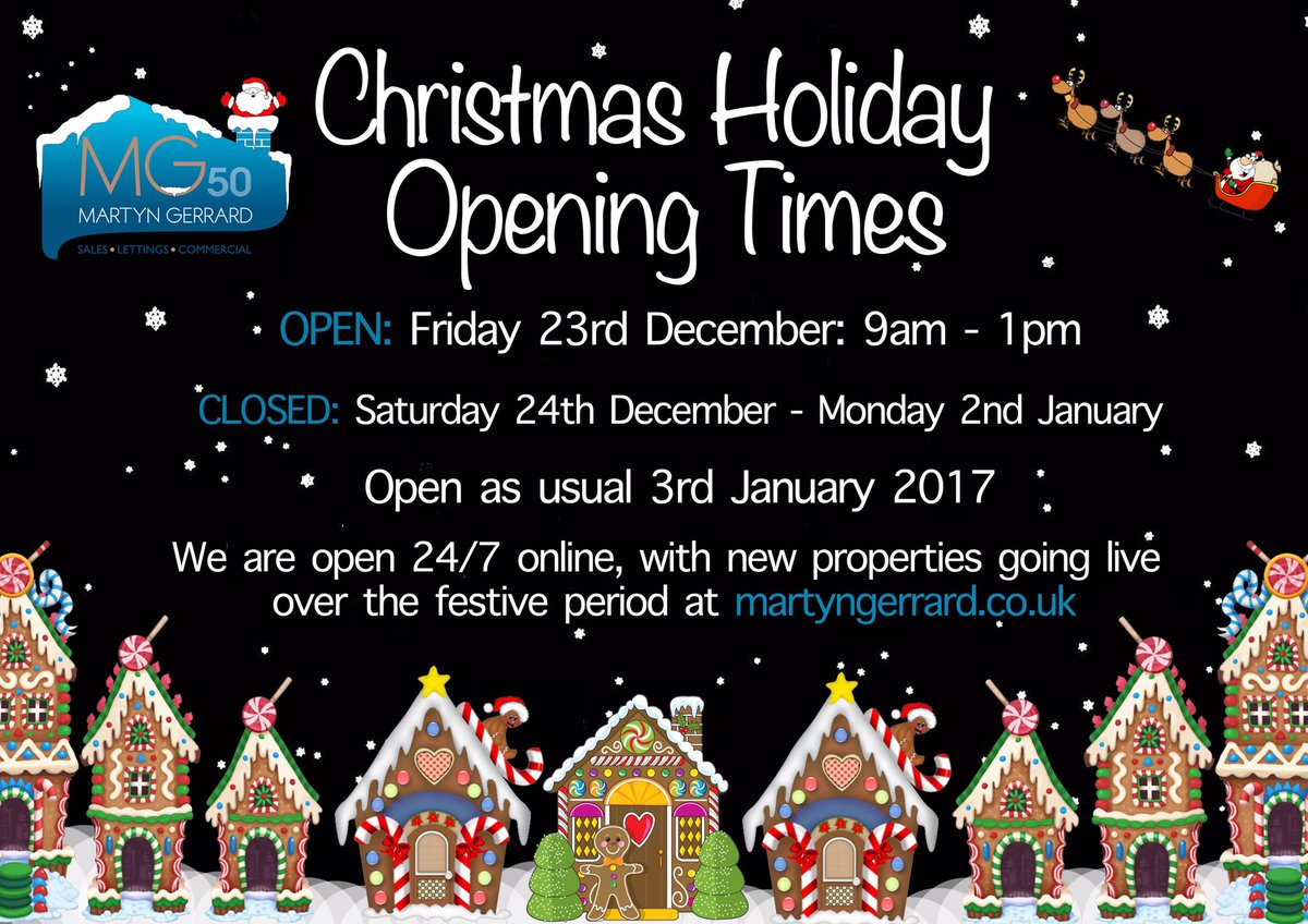 martyn gerrard ea on twitter our christmas holiday opening times christmasweek christmas - Is 711 Open On Christmas