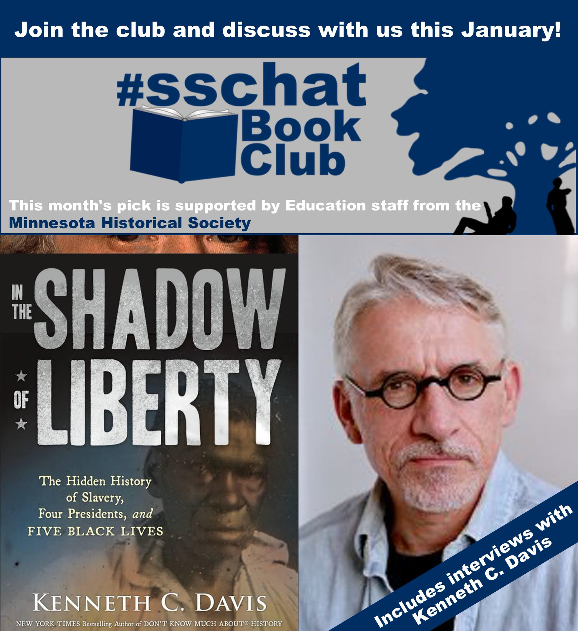 Want to join the #SSChat Book Club? In Jan., we'll read & discuss In the Shadow of Liberty! Like our dedicated page! https://t.co/1nisk2mu7x https://t.co/ZRQF0j69Ab