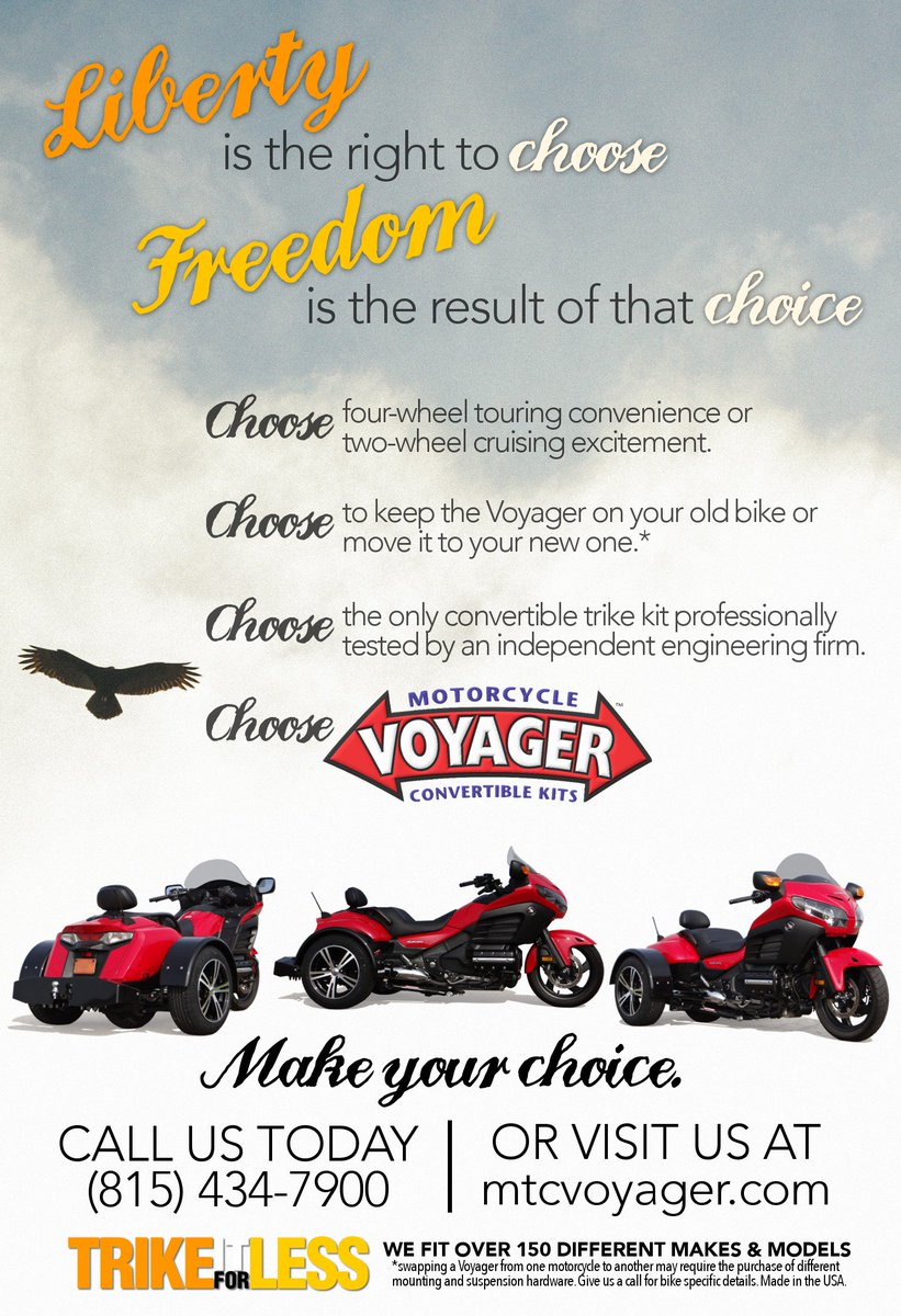 When looking at trike kits, choose the Voyager convertible trike kit. Over 14,000 riders chose Voyager. See why you should too! #trikekits