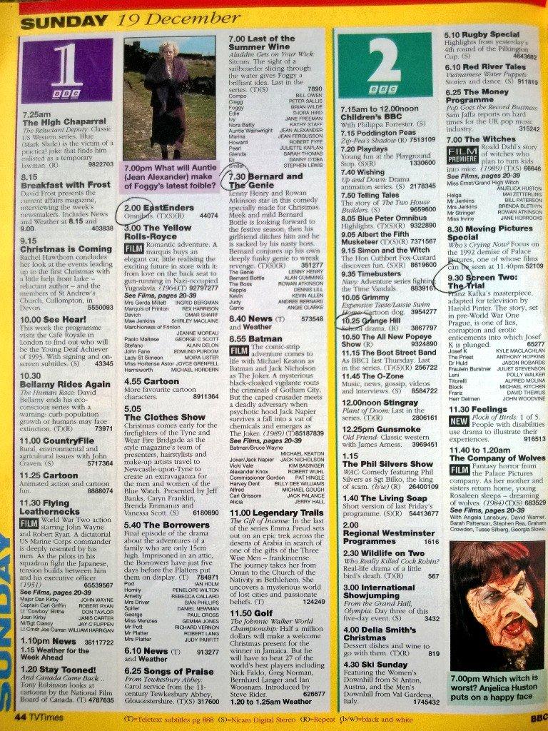 graeme wood on twitter tv 19 12 93 bbc1 6 25 songs of praise 7 0