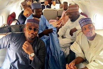 This is a rare photo of sons of wealthy Nigerian politicians chilling in a private jet for Zahra Buhari