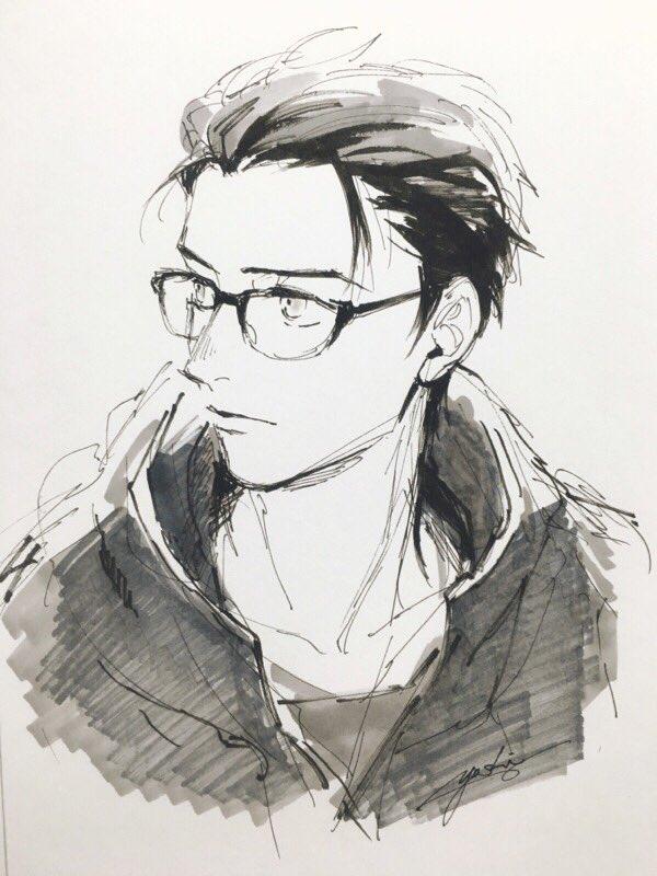 オールバックメガネ