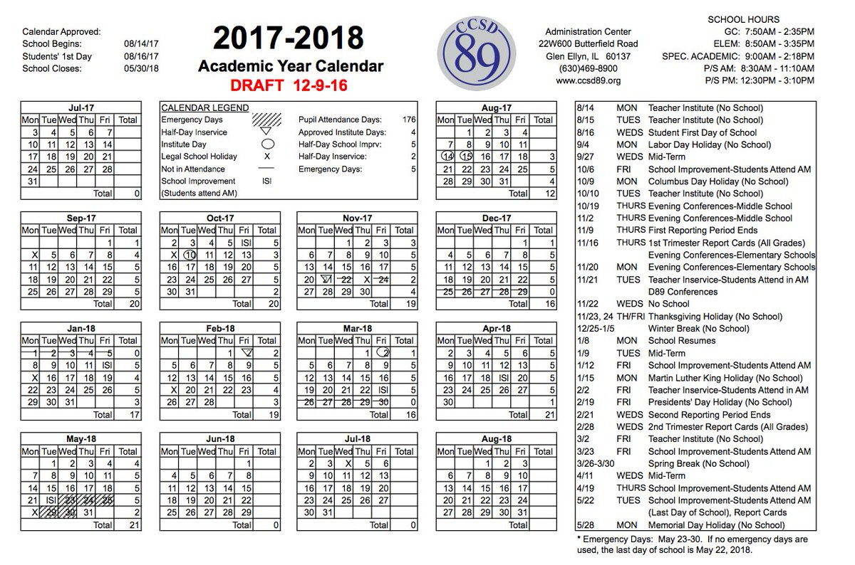 Ccsd 89 On Twitter Board Approves 17 18 Calendar Start Moved Up 3