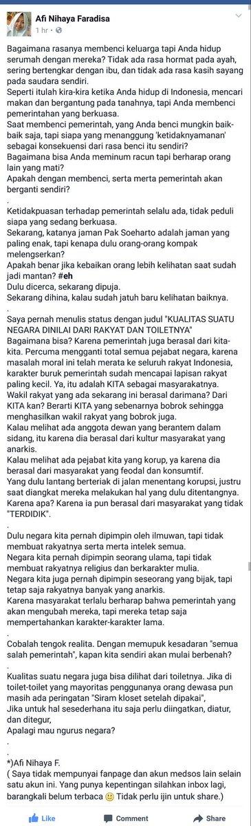 Ini status FB Afi Nihaya Faradisa.  Siswa kelas 3 SMA yang kematangan berpikirnya melebihi orang tua seperti saya. https://t.co/lsbO3BGnQW