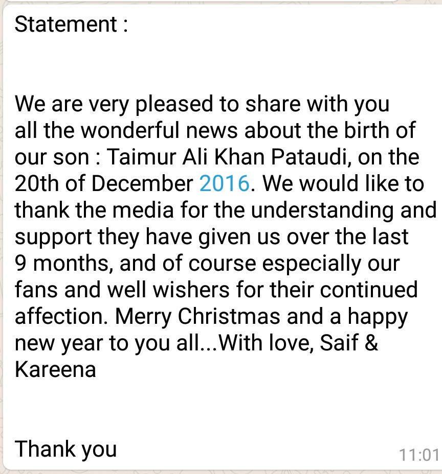 Kareena and Saif's official statement on the arrival of Taimur Ali Khan! https://t.co/LrcUaWsl2T