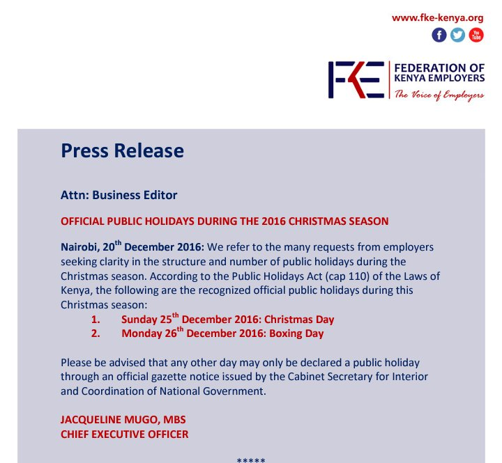 fke press statement on the official public holidays during the christmas seasonpictwittercomxul2q0wsdw - Who Declared Christmas A National Holiday