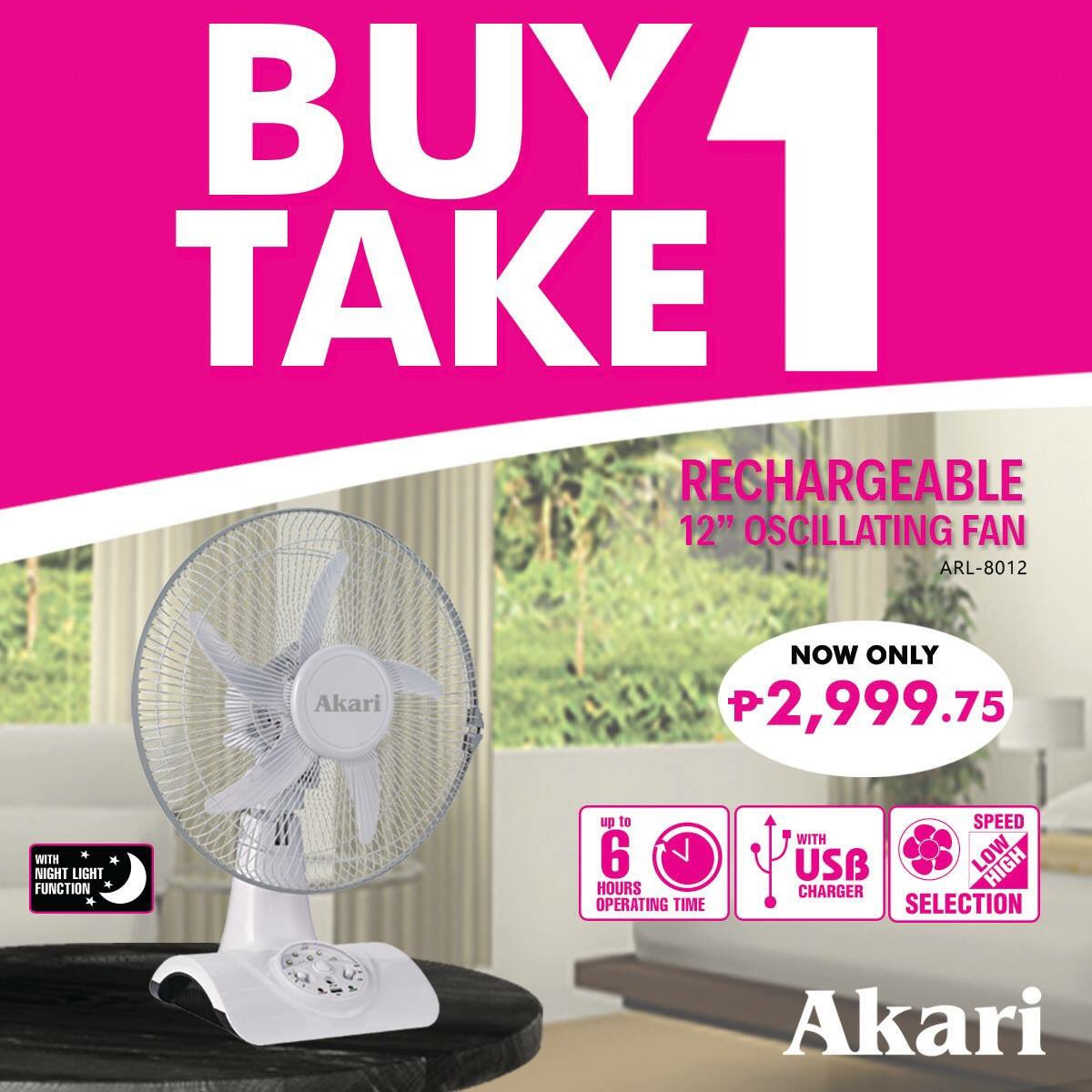 Akari Lighting On Twitter Score This 12 Rechargeable Fan With