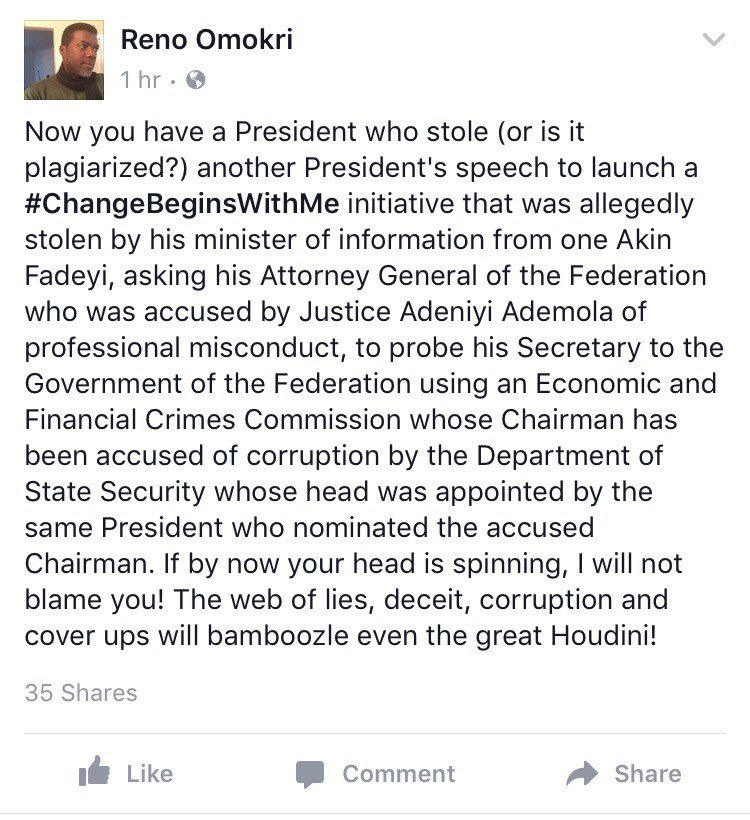 BUHARI is a 'thief' - Reno Omokiri alleges C0IGBgTWIAAv28X