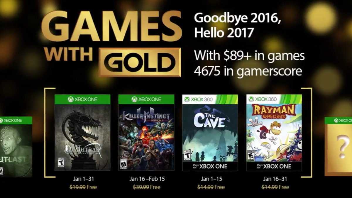 Xbox Live Games with Gold January 2017
