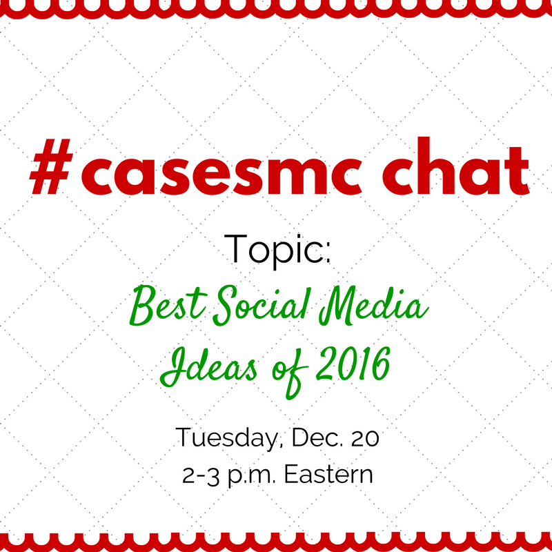 In just a few minutes, we're chatting about great #hesm #highered ideas from 2016. Join us! #casesmc https://t.co/zuh1BefJVb