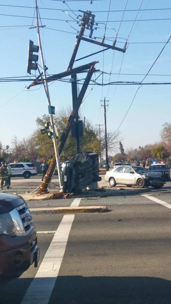 BREAKING Car crash closes Fresno intersection knocks power Shields