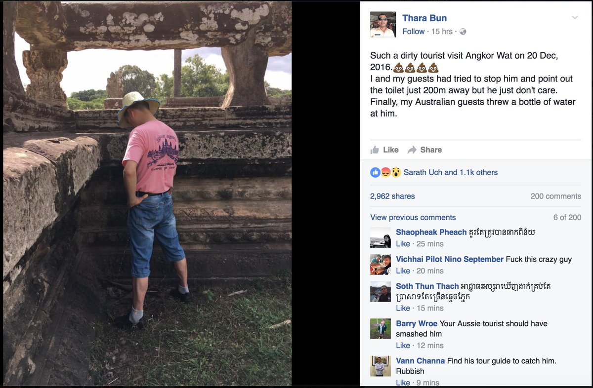 This picture of an infamous tourist at AngkorWat is going viral now:  https://t.co/UodccnM6QM  #siemreap #cambodia https://t.co/Z3q8Aw5b8a