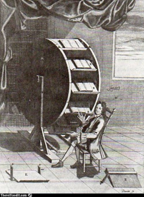 The multi-tab (web) browser (or 'book wheel') as conceived by Agostino Ramelli in 1588. :) https://t.co/cEu6pPmSwQ