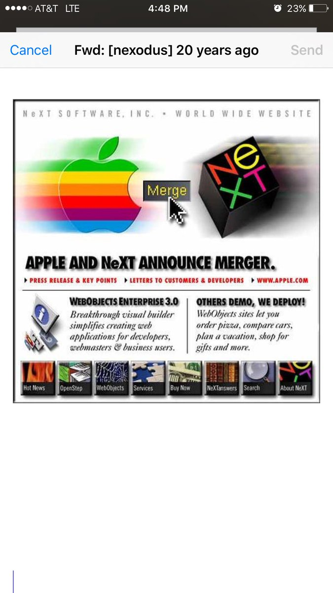 20 years ago today the market for my ObjC software increased several orders of magnitude #exNeXT $AAPL https://t.co/jQO8TqLN8O