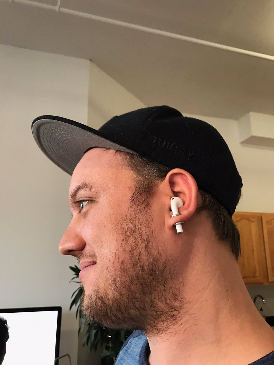 Figured out how I'm gonna keep these AirPods from falling out of my ears https://t.co/5AKmzVIX5b