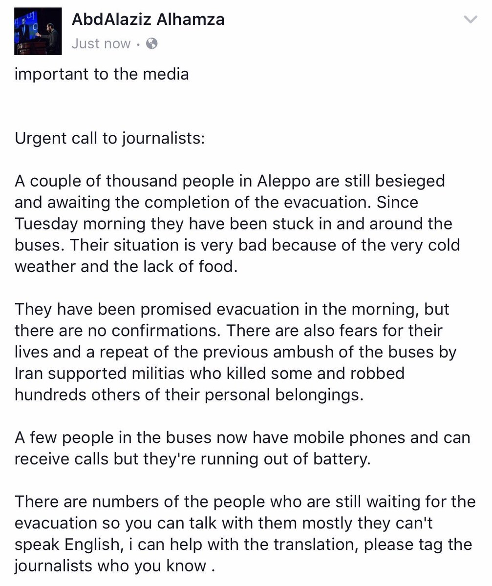 Please retweet and mention the journalists who you now #Aleppo #Syria #Urgent #BREAKING .