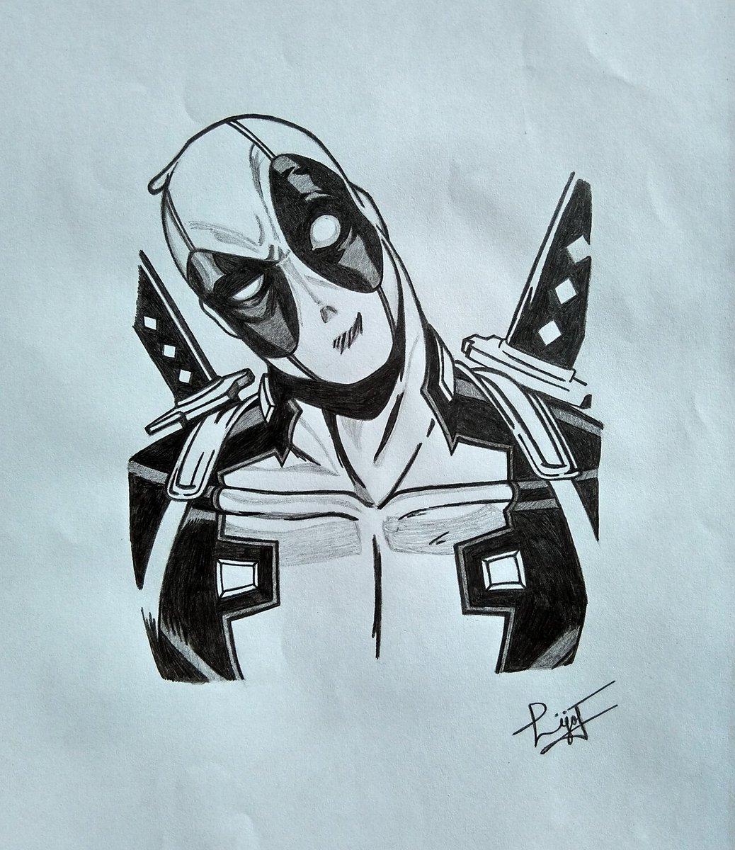 Lijo john on twitter deadpools pencil sketch made by me on a4