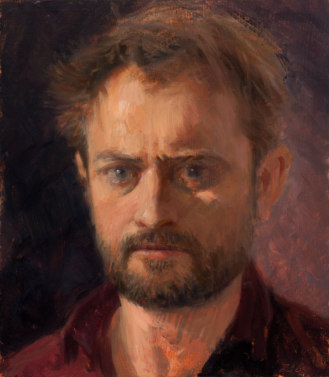 Self portrait, oil on panel, 24 x 21 cm, 2016 #konstonsdag https://t.co/WfKTiG0wKl