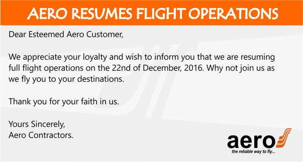 AeroContractors resumes flight operations, 22nd December 2016 https://t.co/Ani1P53hJE