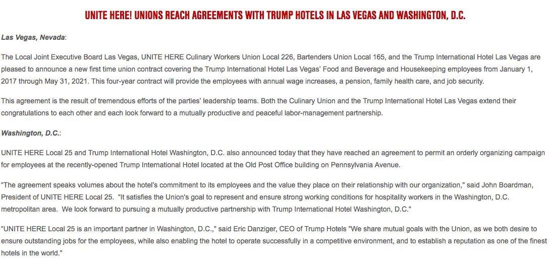 The Culinary Union On Twitter Trumplasvegas Has A Union Contract