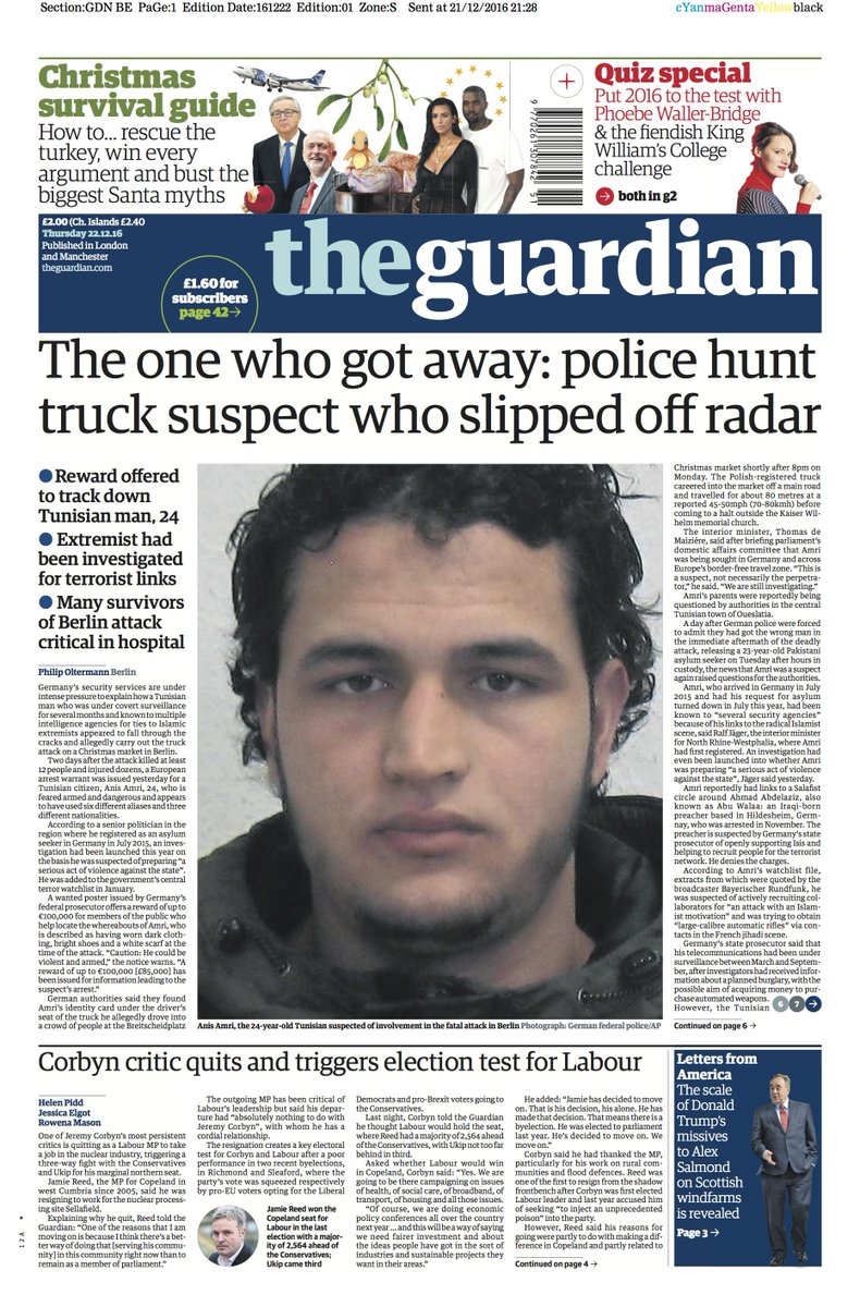 The Guardian Front Page, Thursday 22.12.16: The One Who