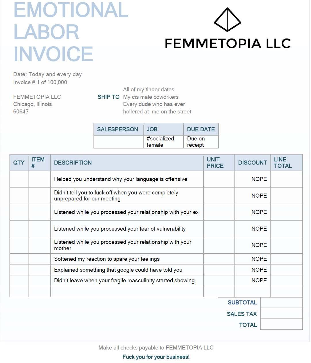 Senthorun Raj On Twitter Fyi Here S An Invoice Template To Use For The Next Time You Need To Bill Someone For Your Emotional Labour Ht Kate Faith Https T Co Z4ivnjd0r6