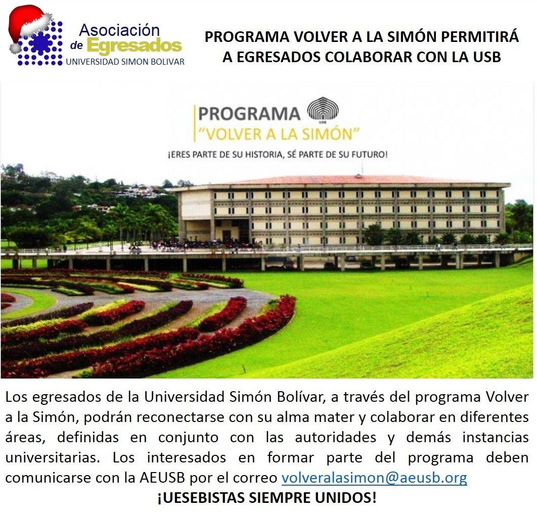 ¡Programa Volver a La Simón!  Egresados Uesebistas podrán reconectarse con su Alma Mater y colaborar en varias areas https://t.co/Jqr5Y1o2NB
