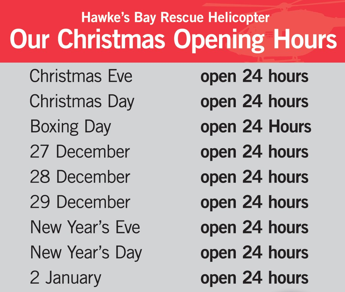 Hb rescue helicopter hbrescueheli twitter just a reminder of our festive opening hourswe provide a 247 365 days per year rescue helicopter service to hawkesbaypicitteraheuc04jyc publicscrutiny Gallery