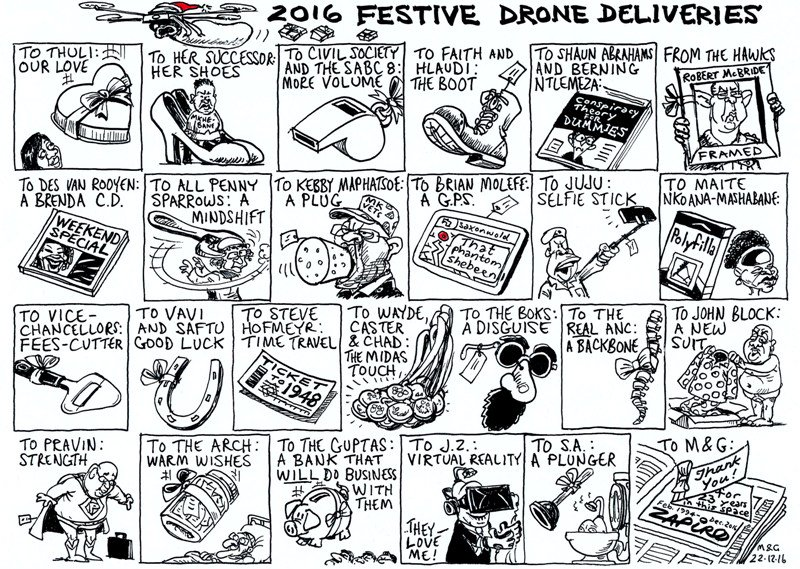 Zapiro cartoon in @mailandguardian on 2016 festive drone deliveries - https://t.co/W3D6o8U0Q1 https://t.co/pGtoIa3WKu