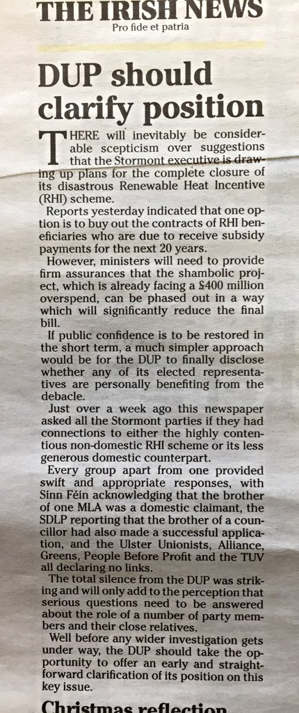 Very interesting editorial in today's @irish_news. Why won't DUP answer this question?  What do they have to hide? https://t.co/55WIiksGmw