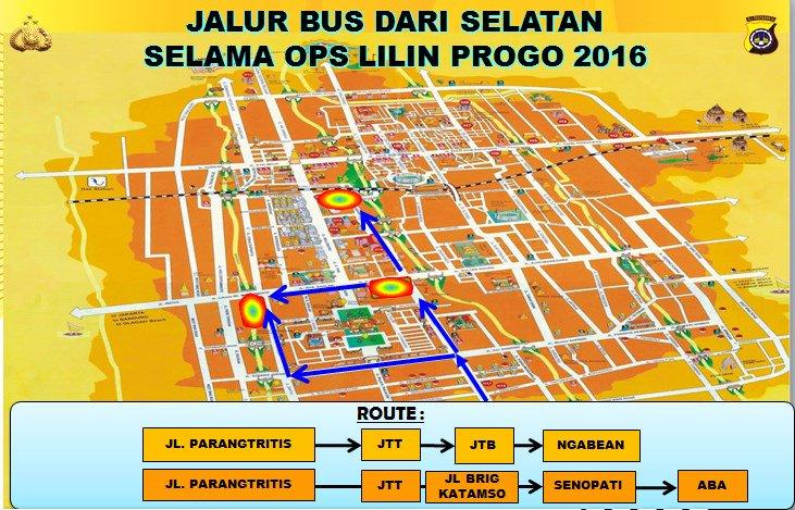 Rekayasa arus lantas Ops Lilin Progo 2016 Kota Yogyakarta dari arah SELATAN