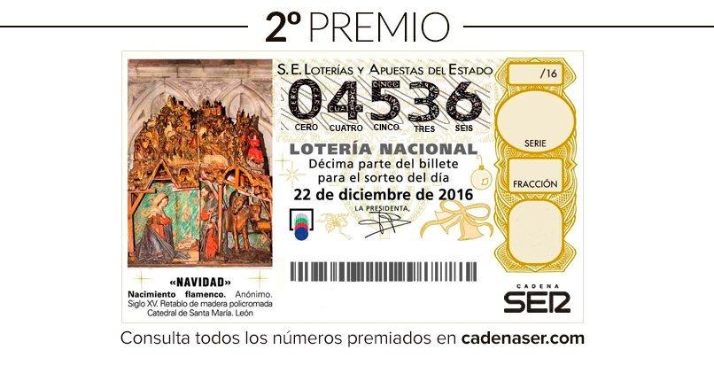 ÚLTIMA HORA: El segundo premio, 4536, cae en #Jaén, #Úbeda y #Martos. Son 125.000 euros al décimo. #LoteríaEnLaSer https://t.co/mWGmTYLaL3