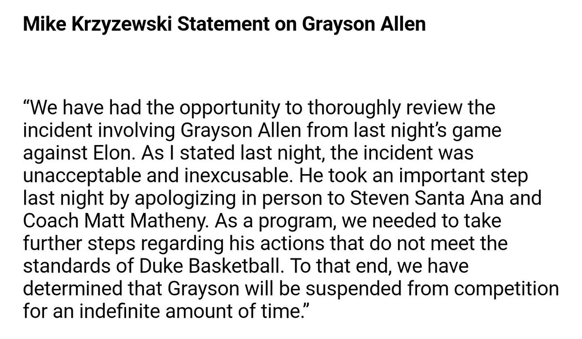 Grayson Allen has been suspended indefinitely from Duke basketball after kicking another opponent