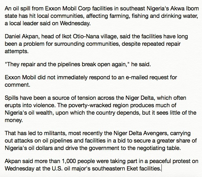 &quot;They repair &amp; the pipelines break open again,&quot; 1000+ protest #Exxon in Nigeria after oil spill poisons community water, fishing &amp; farming. <br>http://pic.twitter.com/titled0iQs