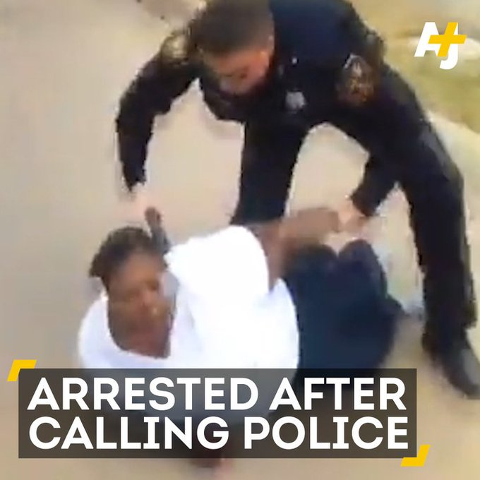 She told police her son was assaulted. The officer then pinned her to the ground and arrested her.