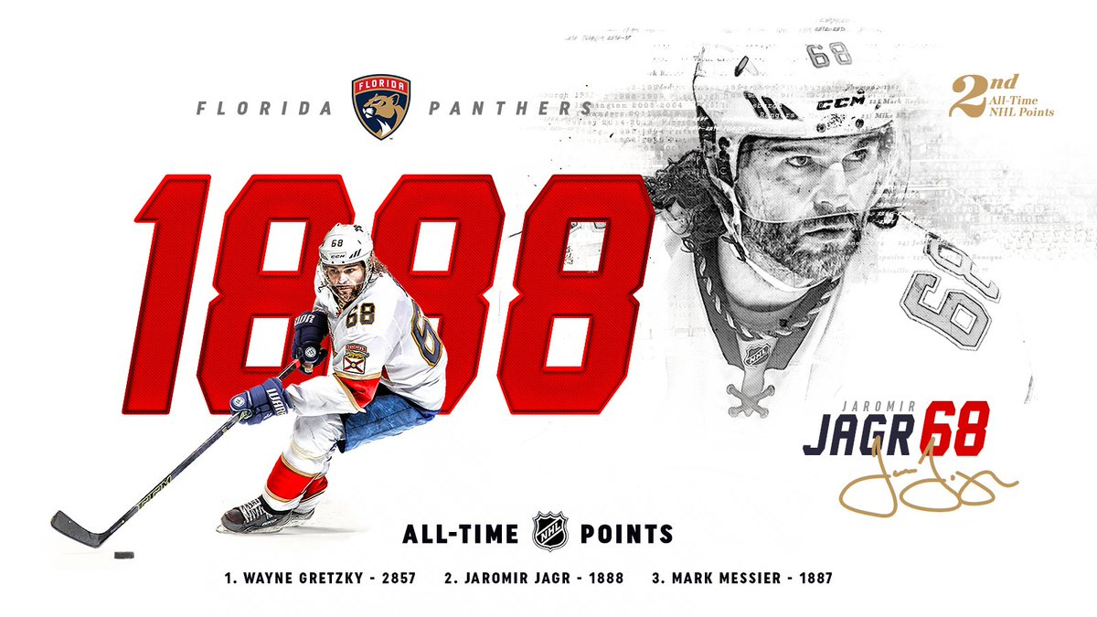 HISTORY.  With that assist, Jagr takes sole possession of second all-time in @NHL points!