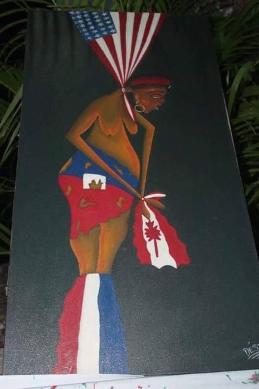 "Haitian artists depiction of ""Killing #Haiti's democracy"". https://t.co/p3JzRl817b"