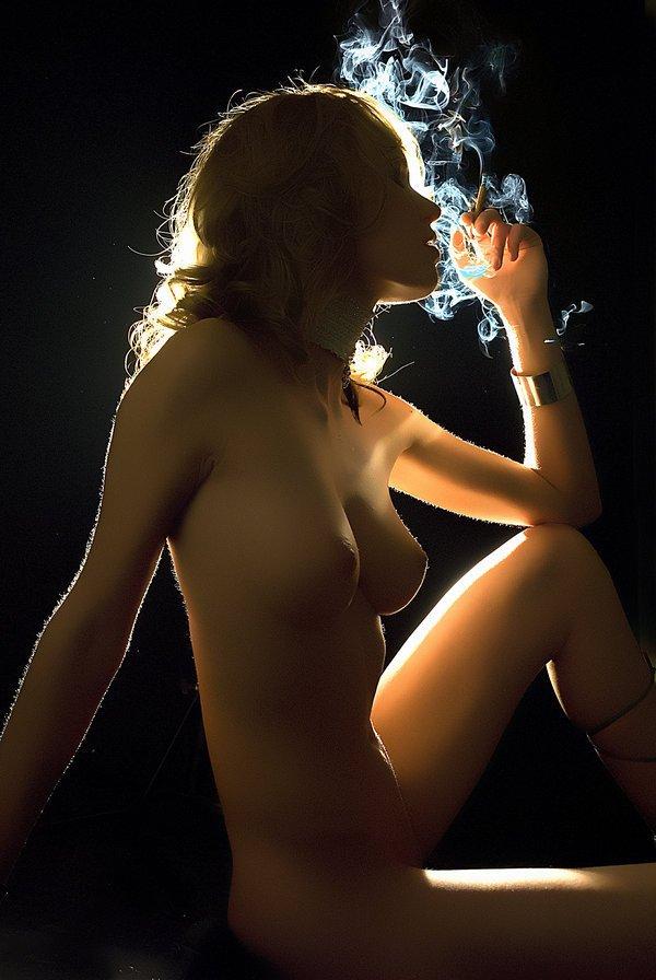 Cigarette smoking nude women