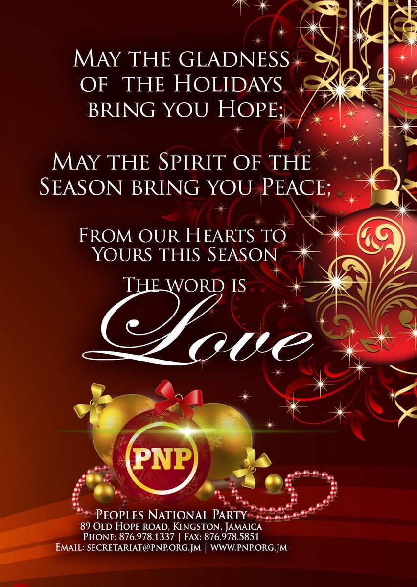 Pnp Jamaica On Twitter Seasons Greetings From Our Hearts To Yours