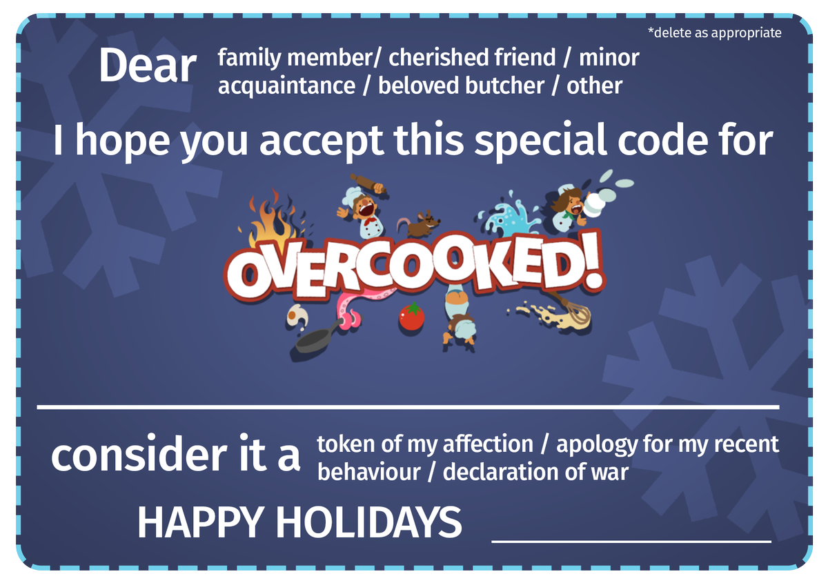 graphic regarding Printable Steam Gift Card identified as Overcooked  upon Twitter: \