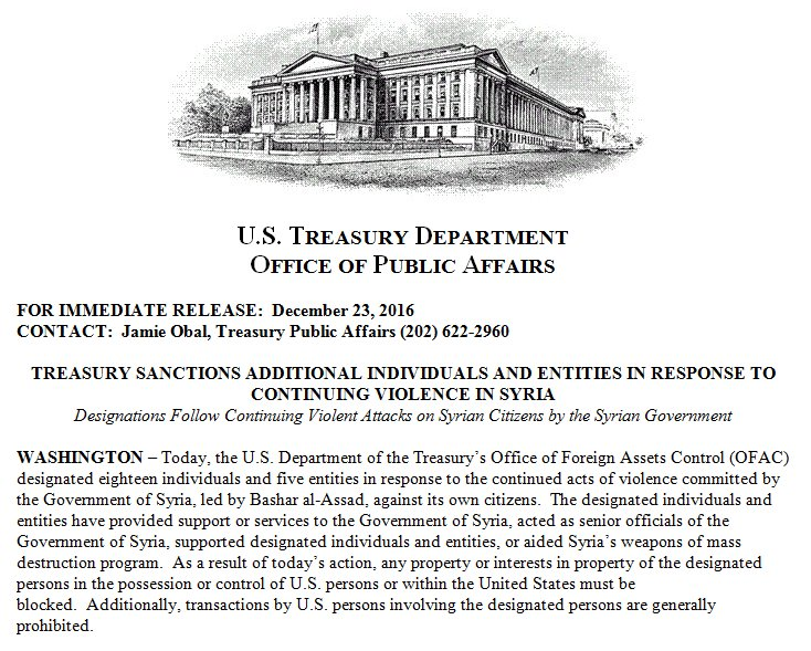 Today: U.S. Treasury designated individuals and entities in response to continuing violent attacks on Syrian citizens by the Syrian Government