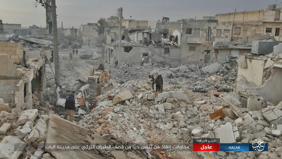 ISIS publishes photos of the aftermath following Turkish army bombardment of Al-Bab