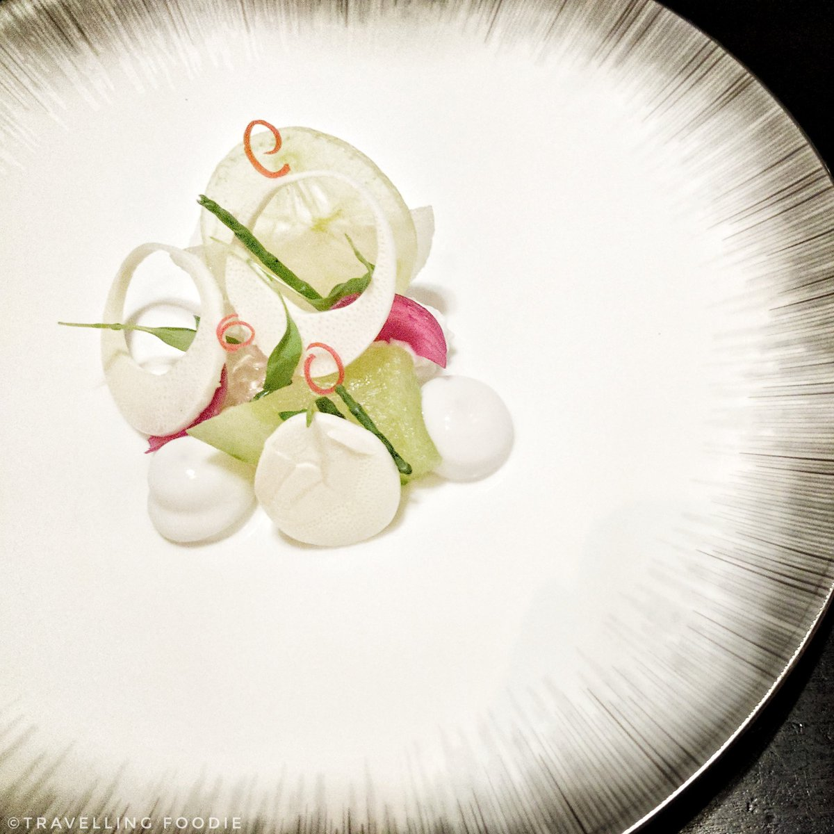 Traveling Foodie eats Hearts of Palm, Pear, Coconut, Finger Lime at Alo Restaurant in Toronto, Ontario, Canada